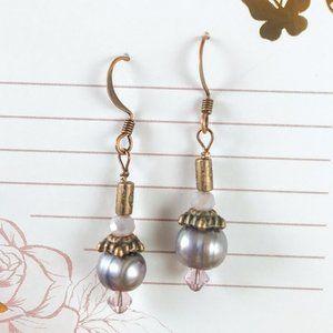 Lavender Pear & Crystal Copper Earrings